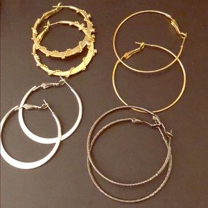 Jewelry - Four pairs of hoop earrings